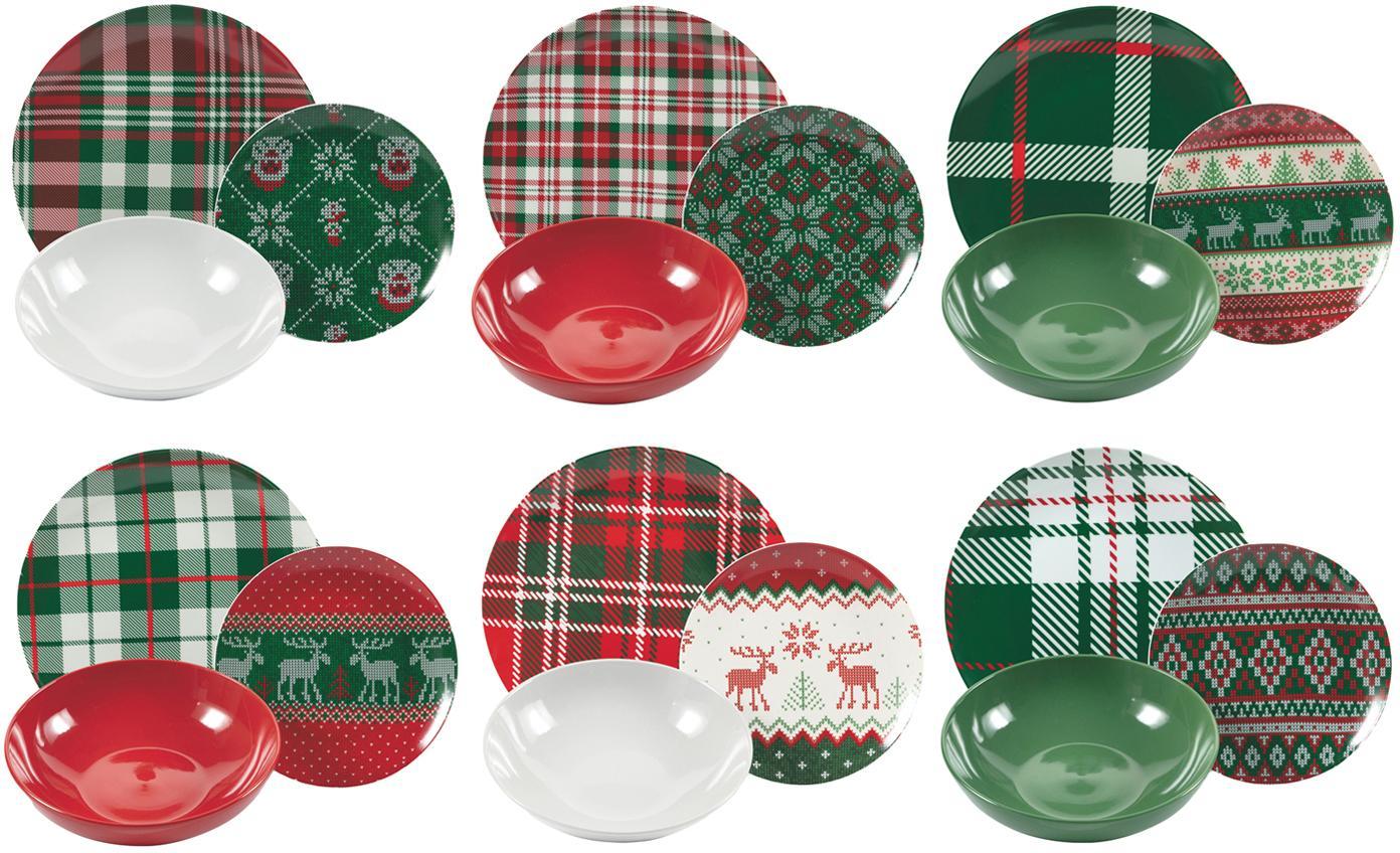 Set 18 piatti con motivo invernale Chalet, Porcellana, terracotta, Multicolore, Set in varie misure
