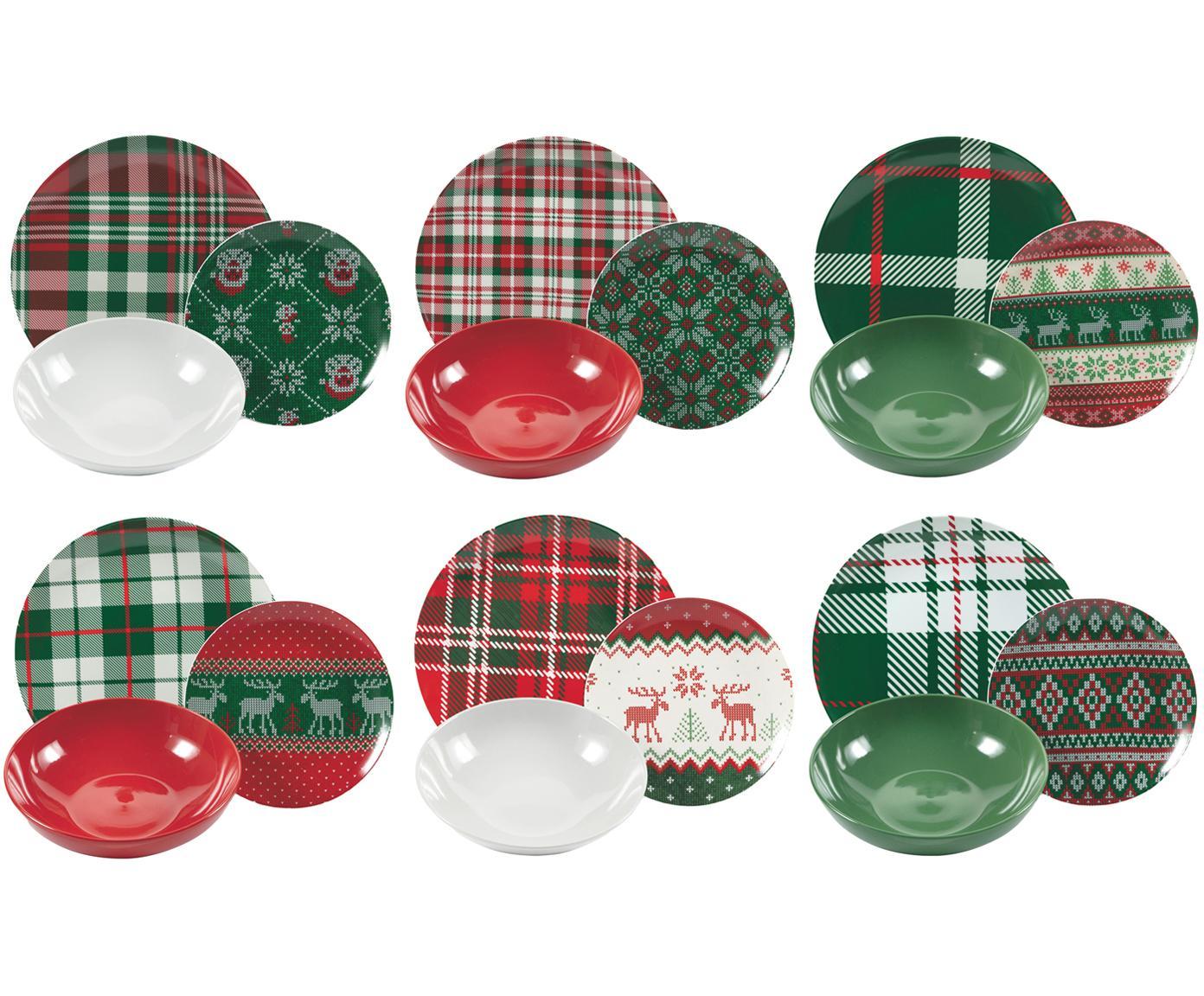 Geschirr-Set Chalet mit winterlichem Muster, 6 Personen (18-tlg.), Porzellan, Steingut, Mehrfarbig, Sondergrößen