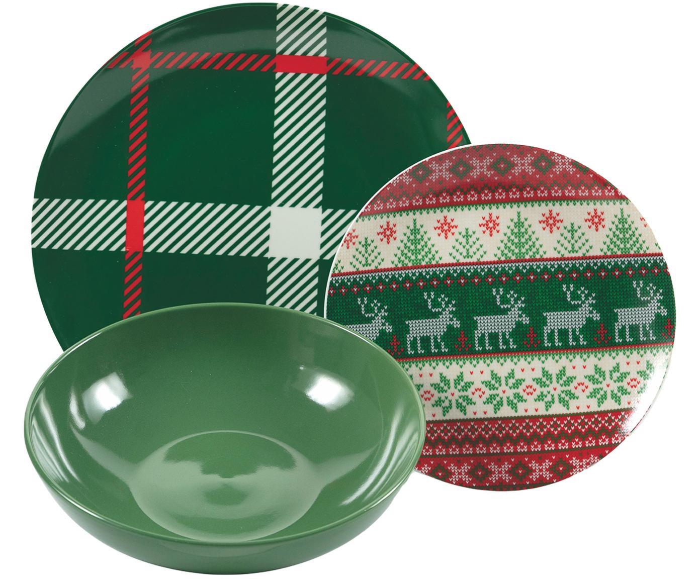 Set 18 piatti con motivo invernale Chalet, Porcellana, terracotta, Multicolore, Diverse dimensioni