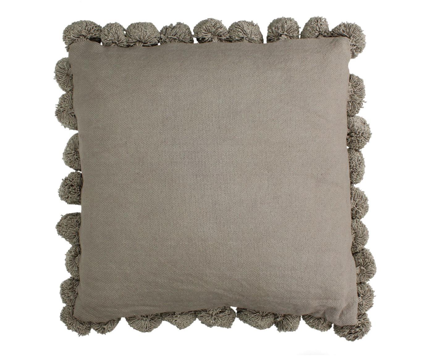 Cuscino con imbottitura e pompon Betta, Grigio, Larg. 45 x Lung. 45 cm