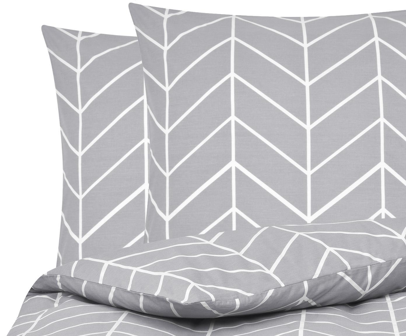 Baumwoll-Bettwäsche Mirja mit grafischem Muster, Webart: Renforcé Fadendichte 144 , Grau, Cremeweiß, 200 x 200 cm + 2 Kissen 80 x 80 cm