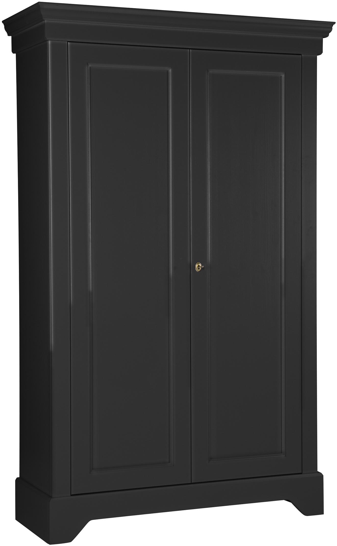 Kledingkast Isabel van grenenhout, Frame: gelakt en gelakt grenenho, Zwart, 118 x 191 cm