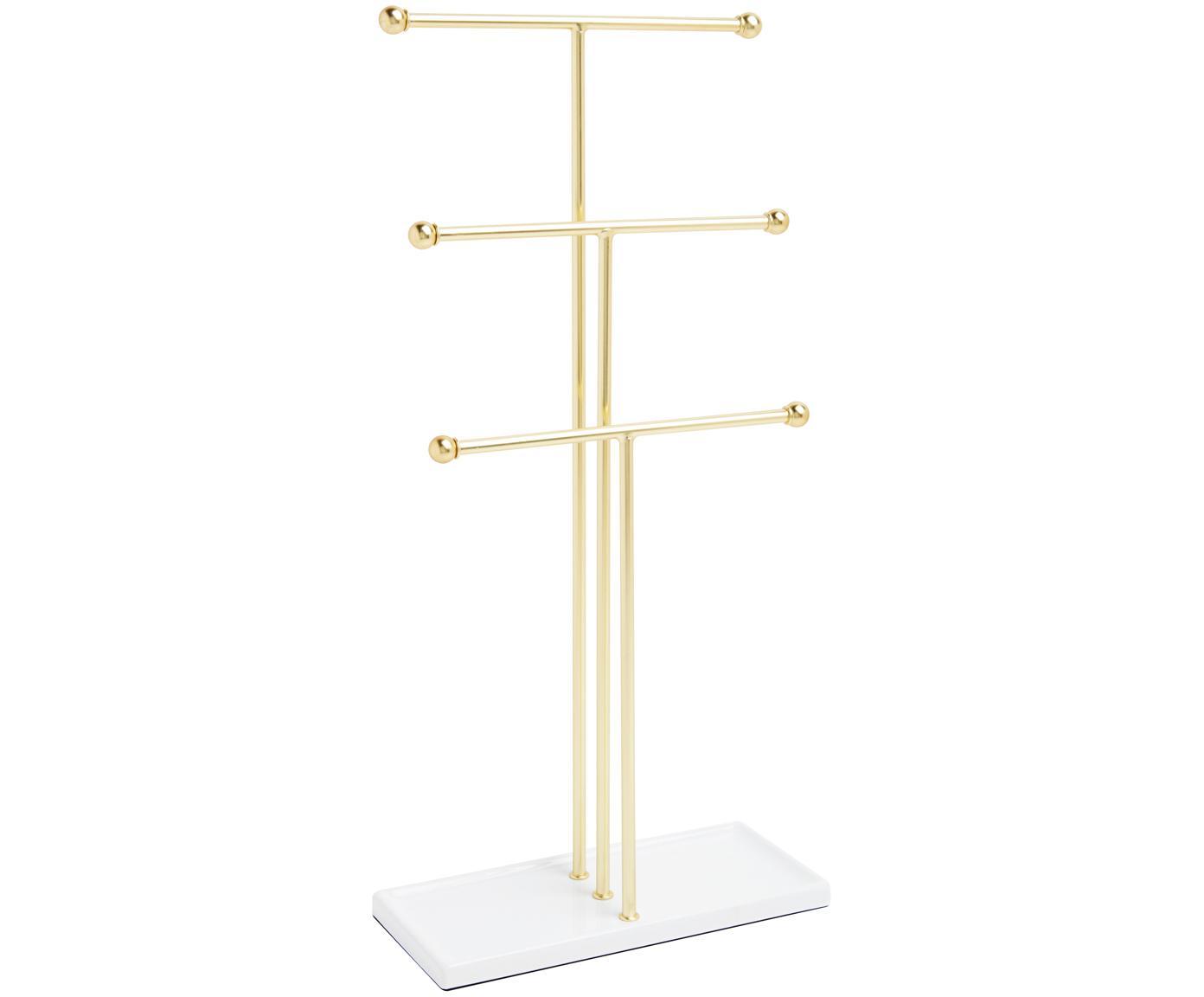 Schmuckhalter Trigem, Metall, lackiert, Weiss, Messingfarben, 23 x 48 cm