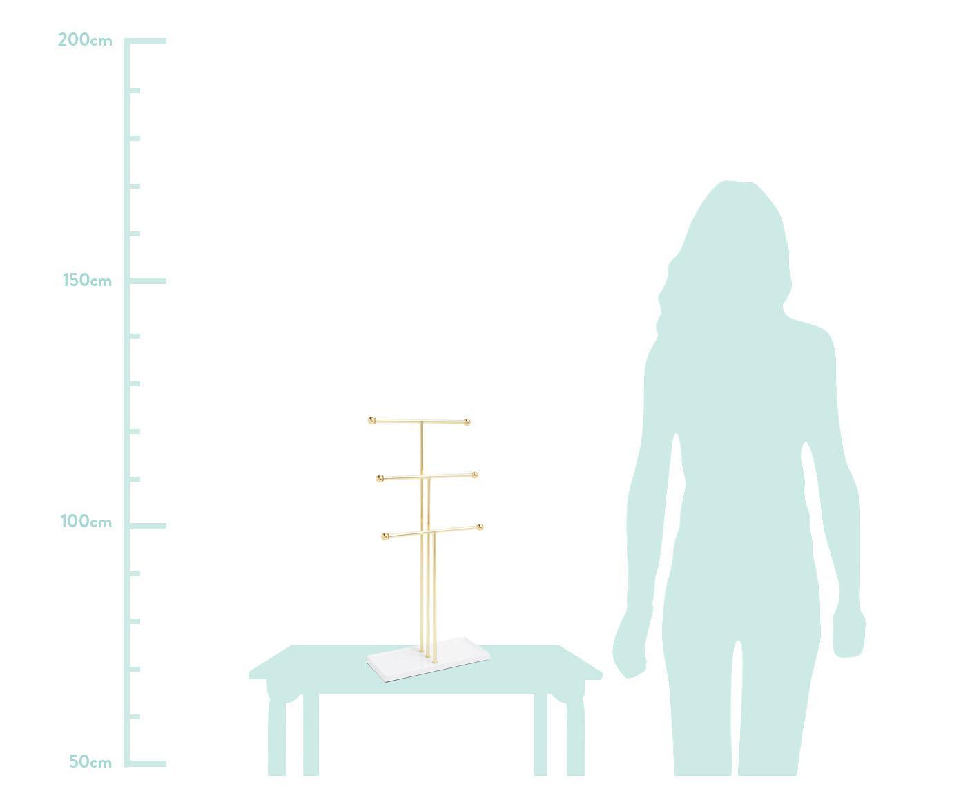 Sieradenhouder Trigem, Gelakt metaal, Wit, messingkleurig, 23 x 48 cm