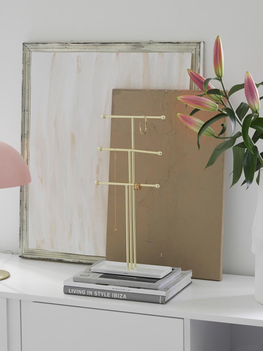 Schmuckhalter Trigem, Metall, lackiert, Weiß, Messingfarben, 23 x 48 cm