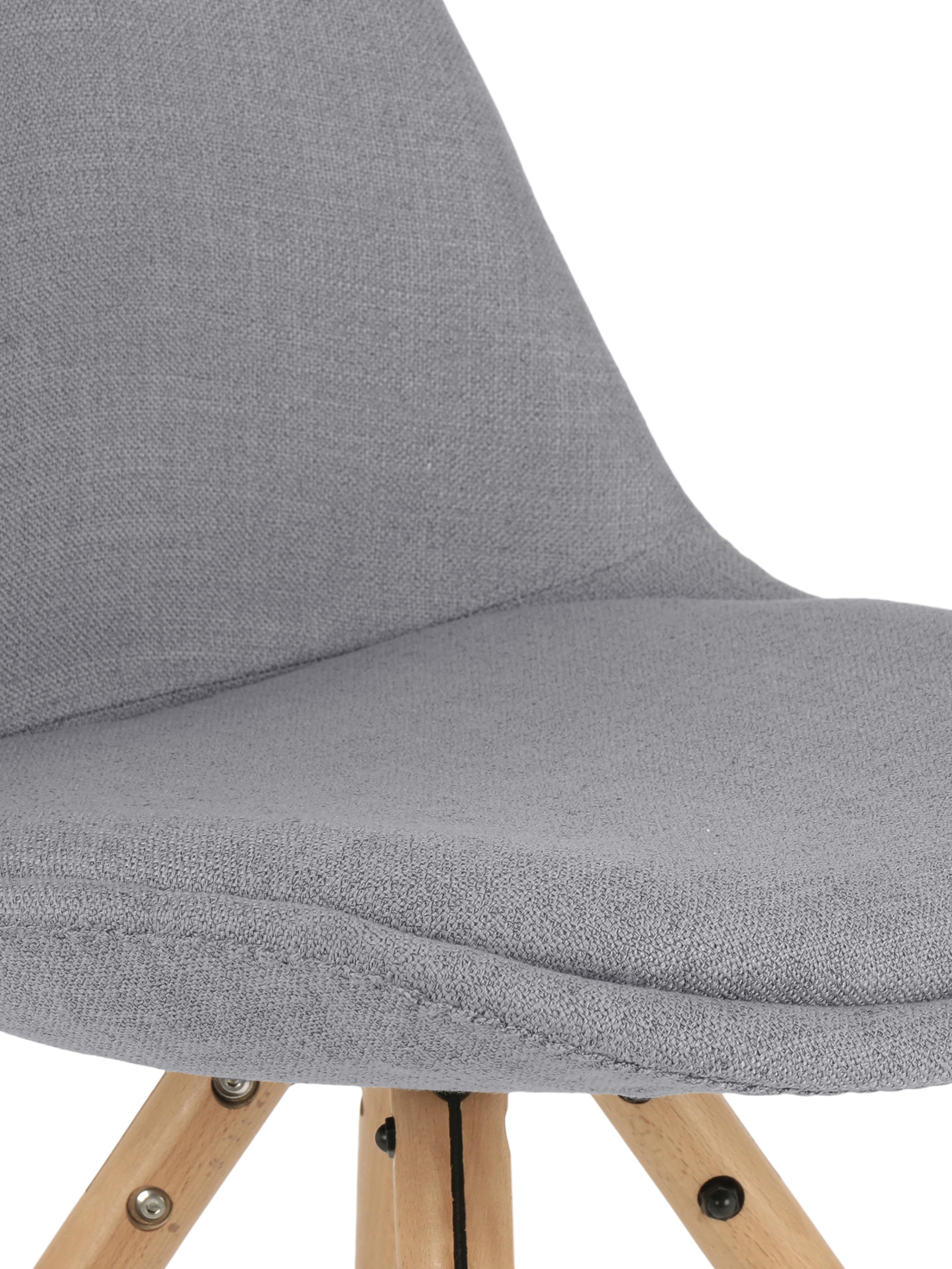 Polsterstühle Max im Skandi Design, 2 Stück, Sitzschale: Kunststoff, Bezug: Polyester 20.000 Scheuert, Beine: Buchenholz, Webstoff Grau, B 46 x T 54 cm