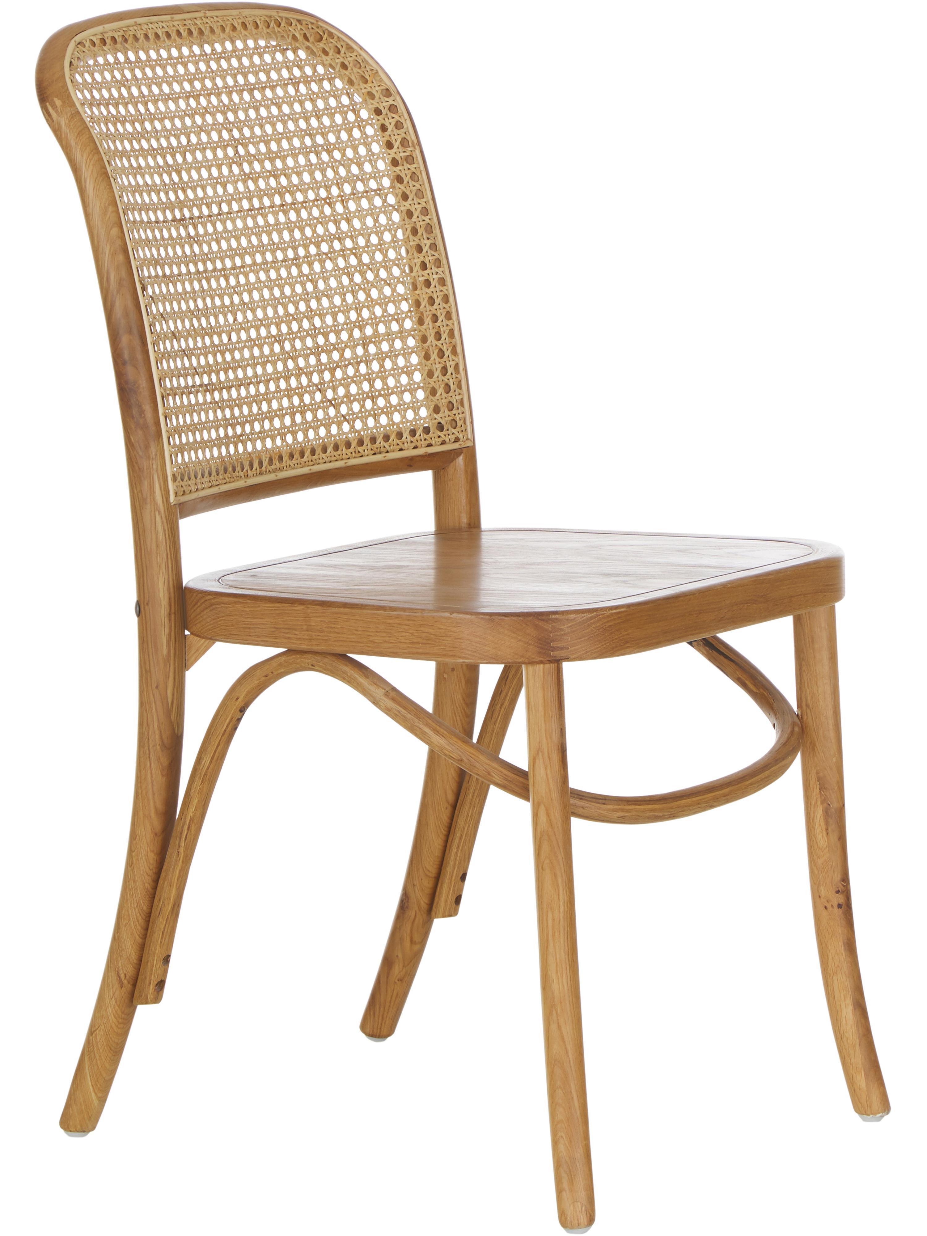 Stoel Franz met Weens vlechtwerk, Zitvlak: rotan, Frame: massief gelakt eikenhout, Zitvlak: rotankleurig. Frame: eikenhoutkleurig, B 48  x D 59 cm