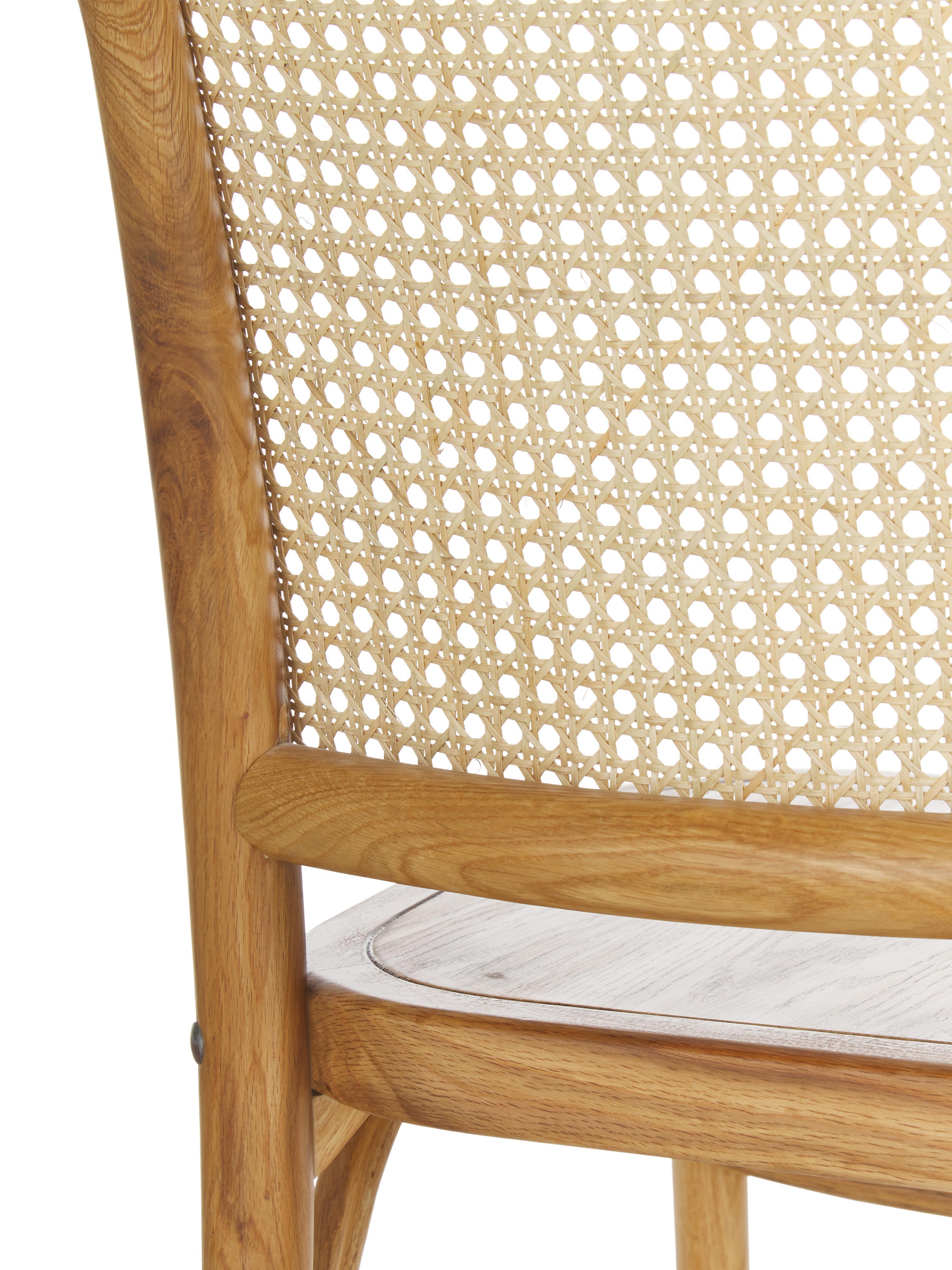 Holzstuhl Franz mit Wiener Geflecht, Sitzfläche: Sperrholz, lackiert, Gestell: Massives Eichenholz, lack, Rückenlehne: Rattan, Braun, B 48 x T 59 cm
