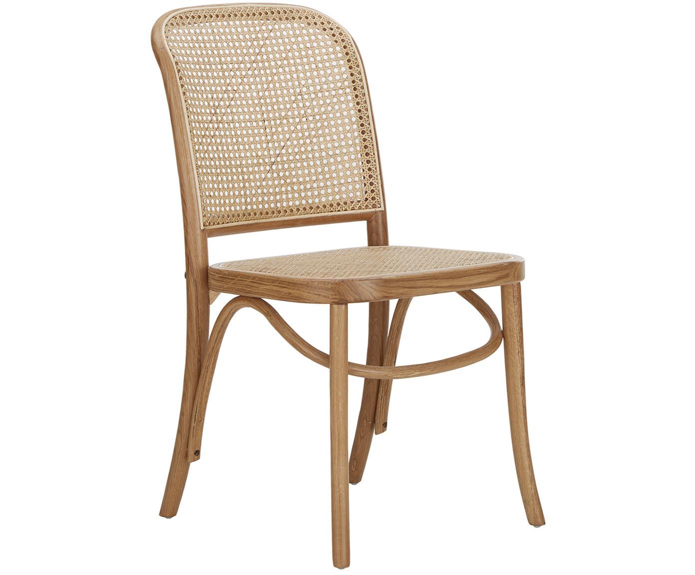 Holzstuhl Franz mit Wiener Geflecht, Sitzfläche: Rattan, Gestell: Massives Eichenholz, lack, Braun, B 48 x T 59 cm