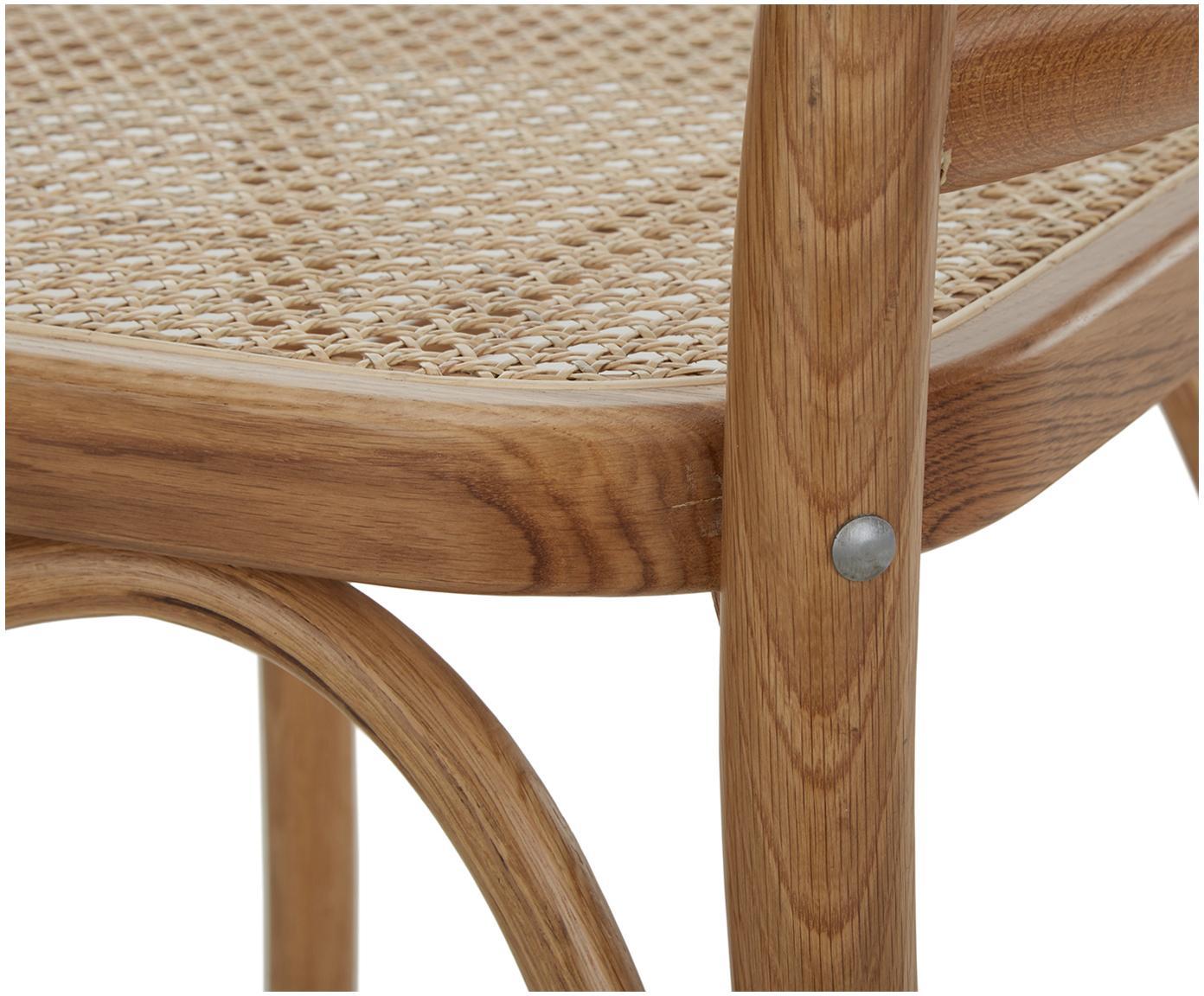 Drewniane krzesło z plecionką wiedeńską Franz, Stelaż: lite drewno dębowe, lakie, Brązowy, S 48 x G 59 cm