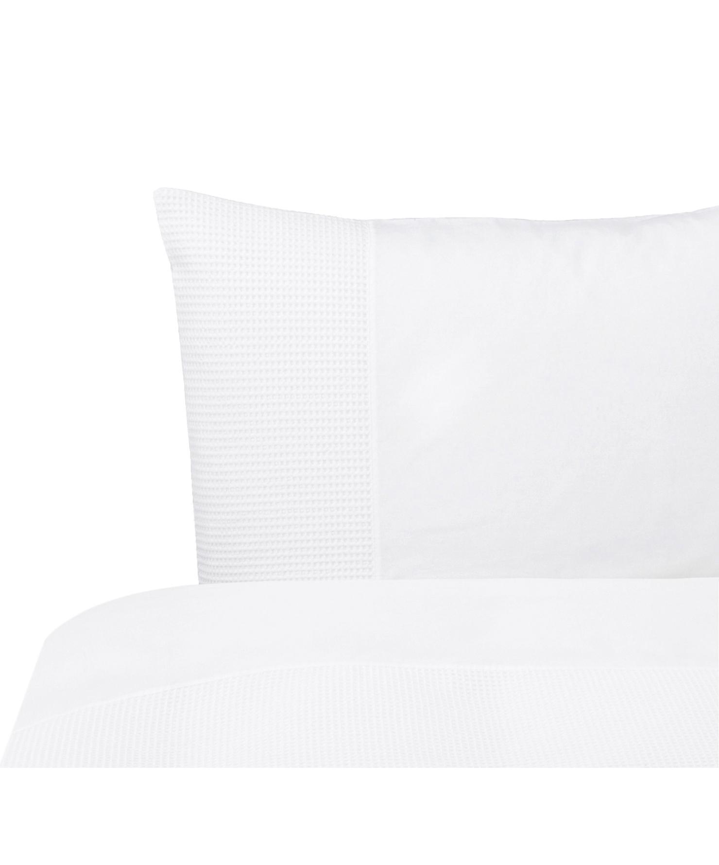 Perkal dekbedovertrek Mendoza, Bovenzijde: katoen, Weeftechniek: perkal met wafelstructuur, Onderzijde: katoen, Weeftechniek: perkal, glad, Wit, 140 x 220 cm