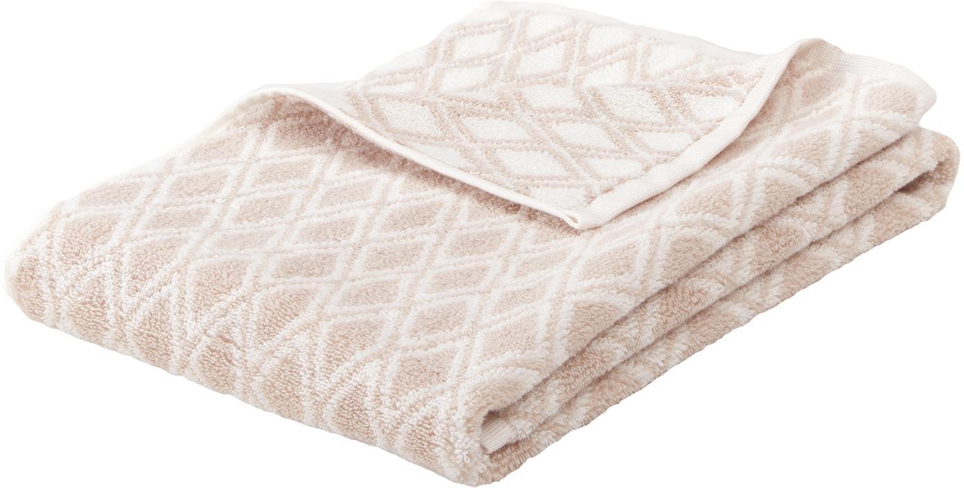 Wende-Handtuch Ava in verschiedenen Grössen, mit grafischem Muster, Sandfarben, Cremeweiss, Handtuch