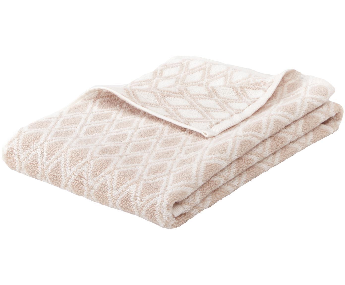 Wende-Handtuch Ava mit grafischem Muster, Sandfarben, Cremeweiß, Handtuch