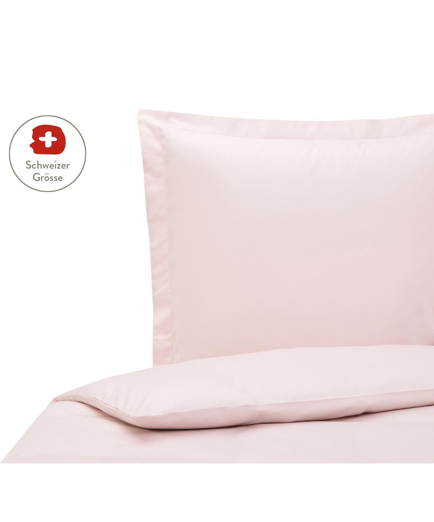 Baumwollsatin-Bettdeckenbezug Premium in Rosa mit Stehsaum, Webart: Satin, leicht glänzend Fa, Rosa, 160 x 210 cm