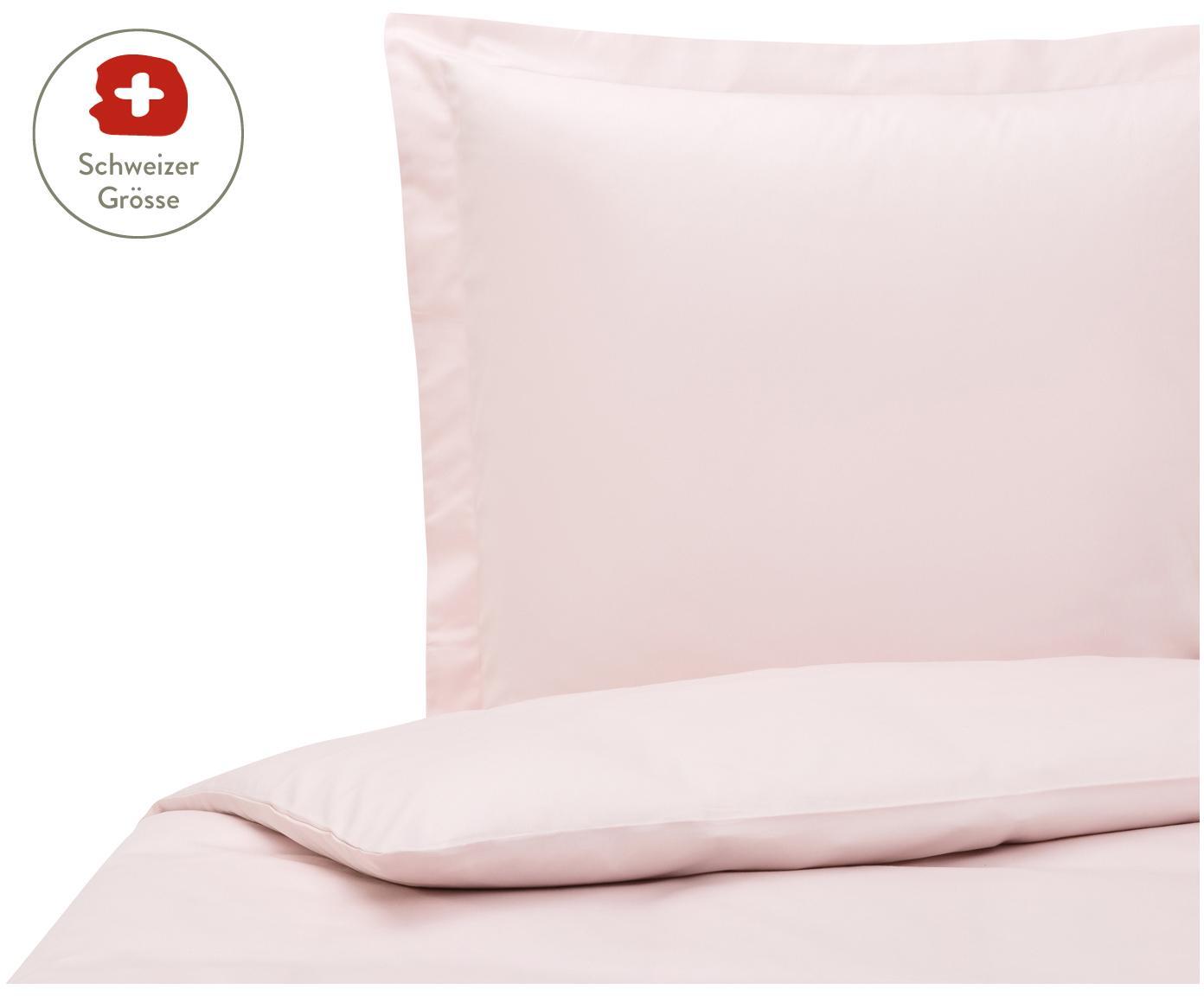 Baumwollsatin-Bettdeckenbezug Premium in Rosa mit Stehsaum, Webart: Satin, leicht glänzend, Rosa, 160 x 210 cm