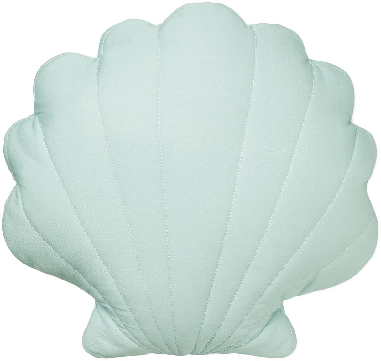 Cuscino a conchiglia in cotone organico Shell, Verde menta, Larg. 28 x Lung. 39 cm