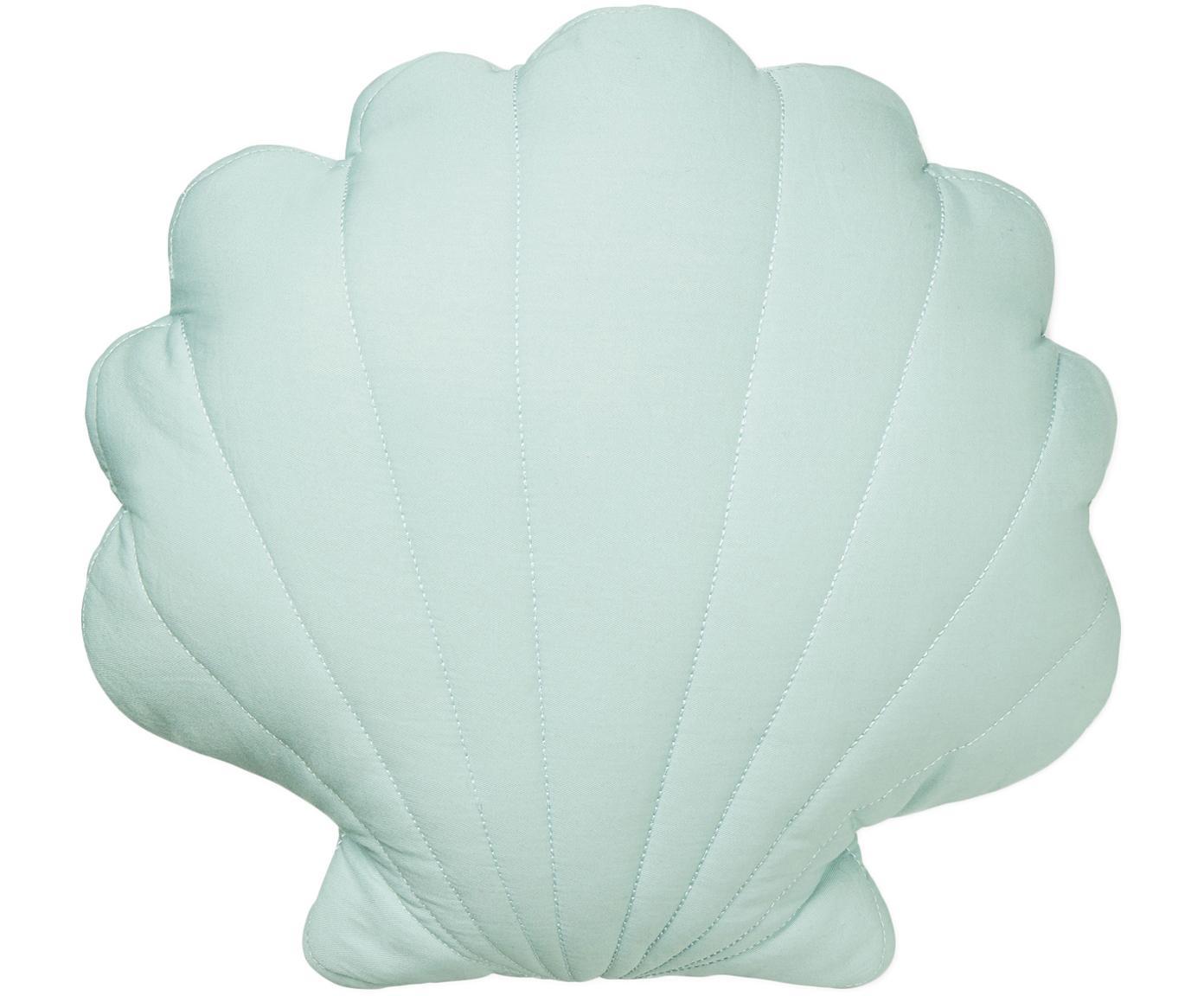 Cojín Sea Shell, con relleno, Exterior: algodón orgánico, Verde menta, An 28 x L 39 cm