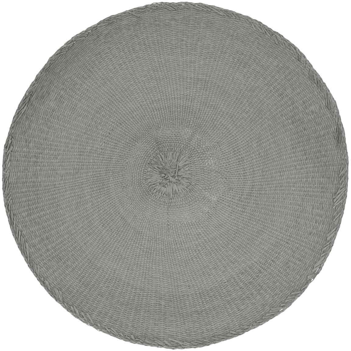 Runde Tischsets Kolori aus Papierfasern, 2 Stück, Papierfasern, Grau, Ø 38 cm