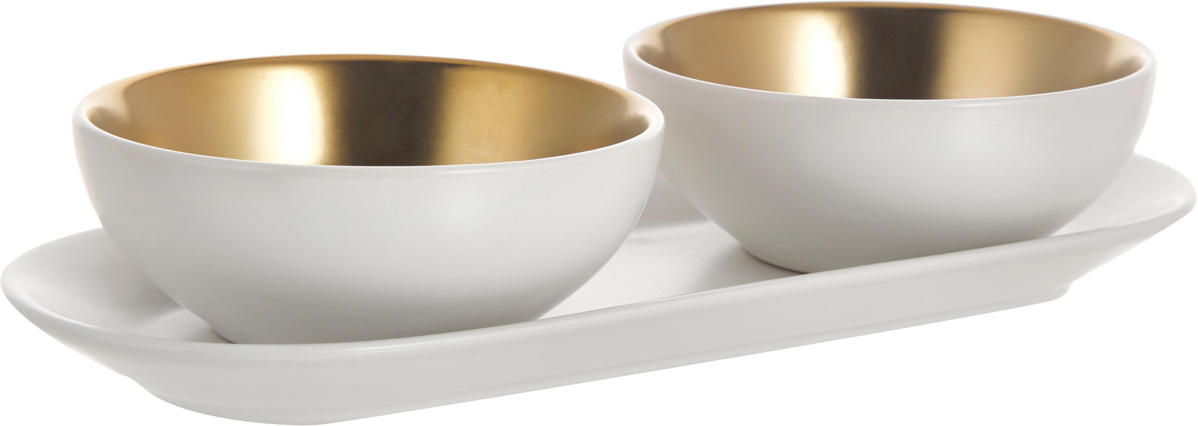 Set de cuencos Glitz, 3pzas., Gres, Blanco, dorado, Ø 10 x Al 4 cm