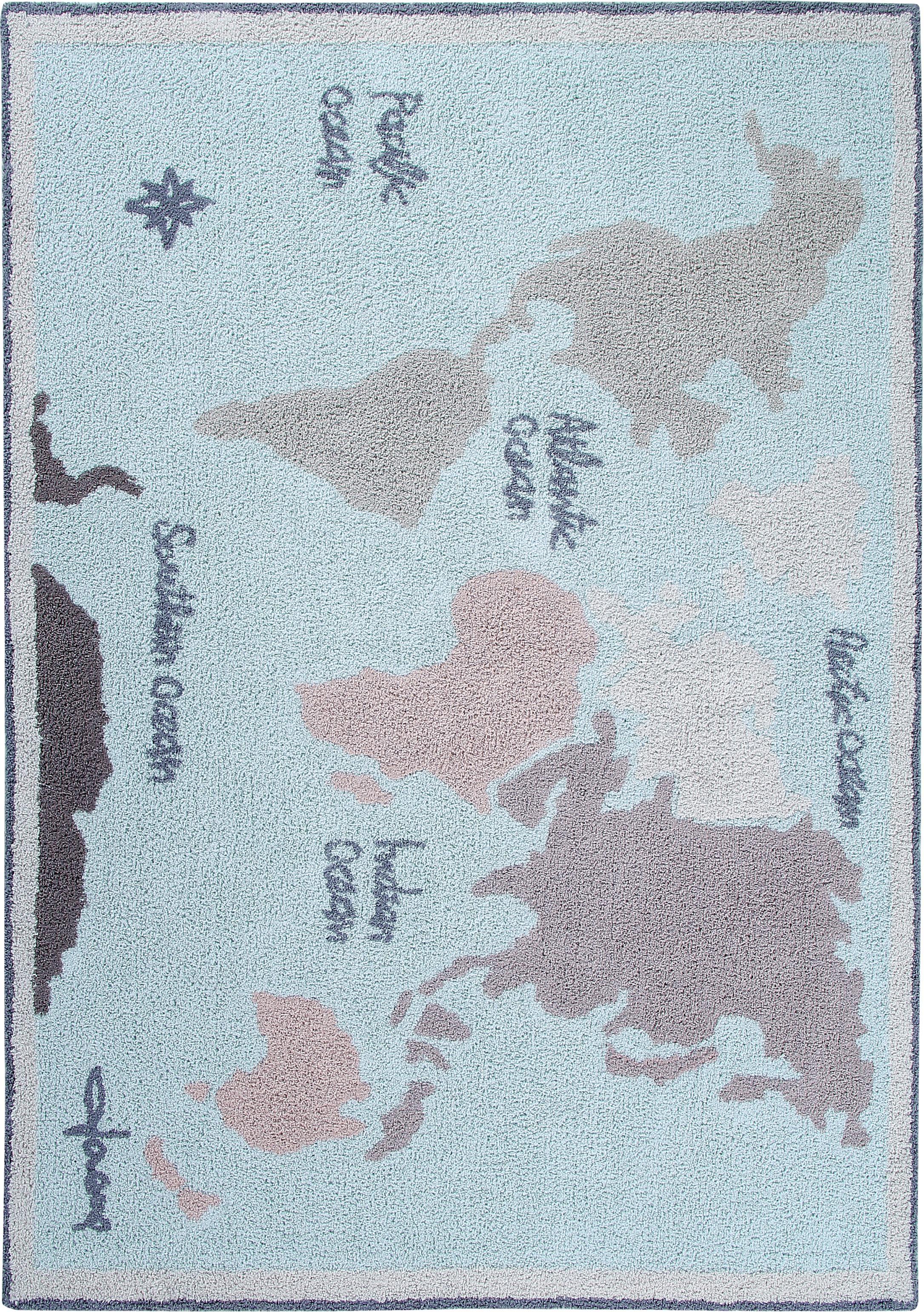 Tappeto lavabile Vintage Map, Vello: 97% cotone, 3% cotone ric, Retro: cotone riciclato, Beige, grigio, blu, Larg. 140 x Lung. 200 cm