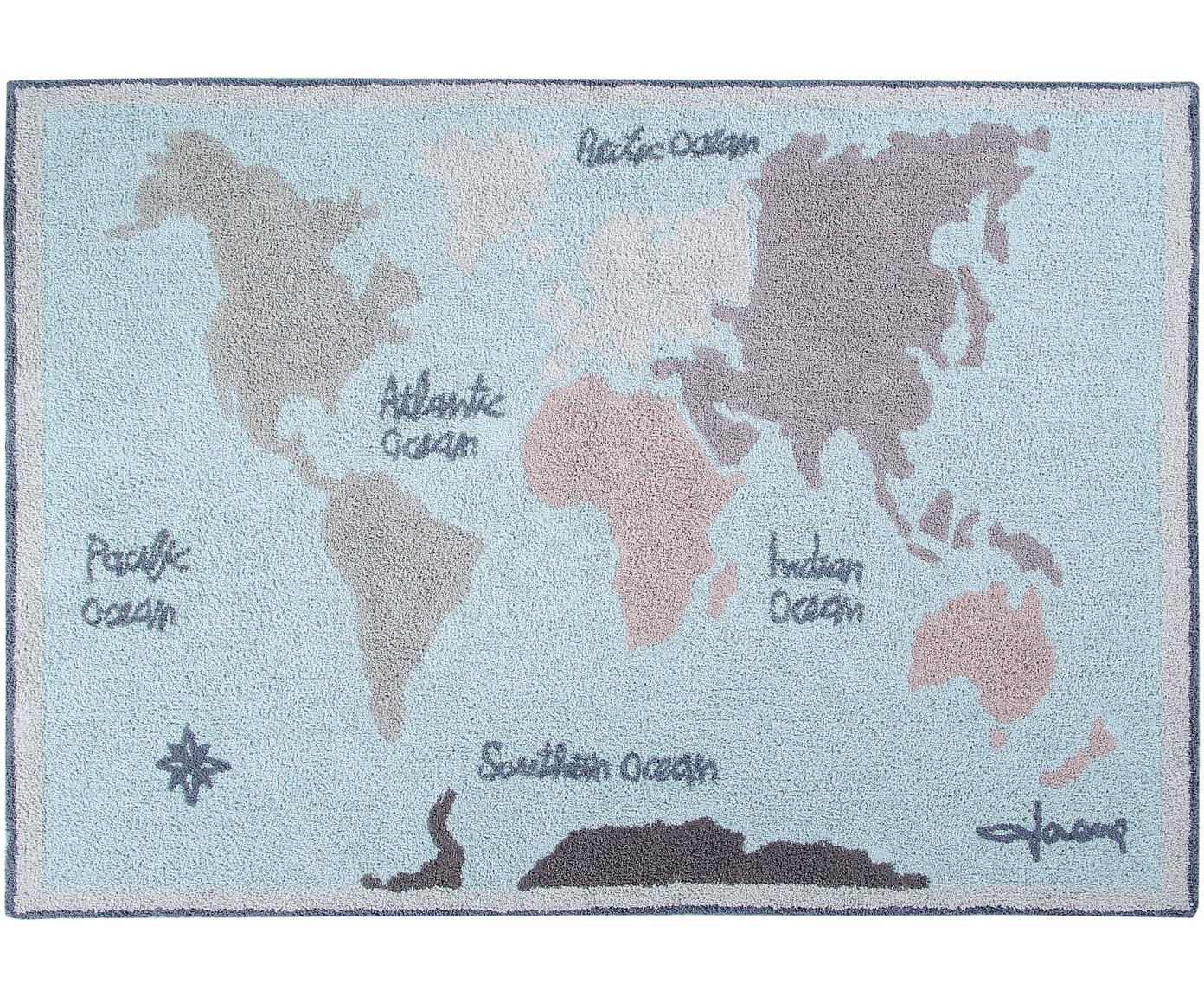Alfombra lavable Vintage Map, Parte superior: 97%algodón, 3%algodón r, Reverso: algodón reciclado, Beige, gris, azul, An 140 x L 200 cm