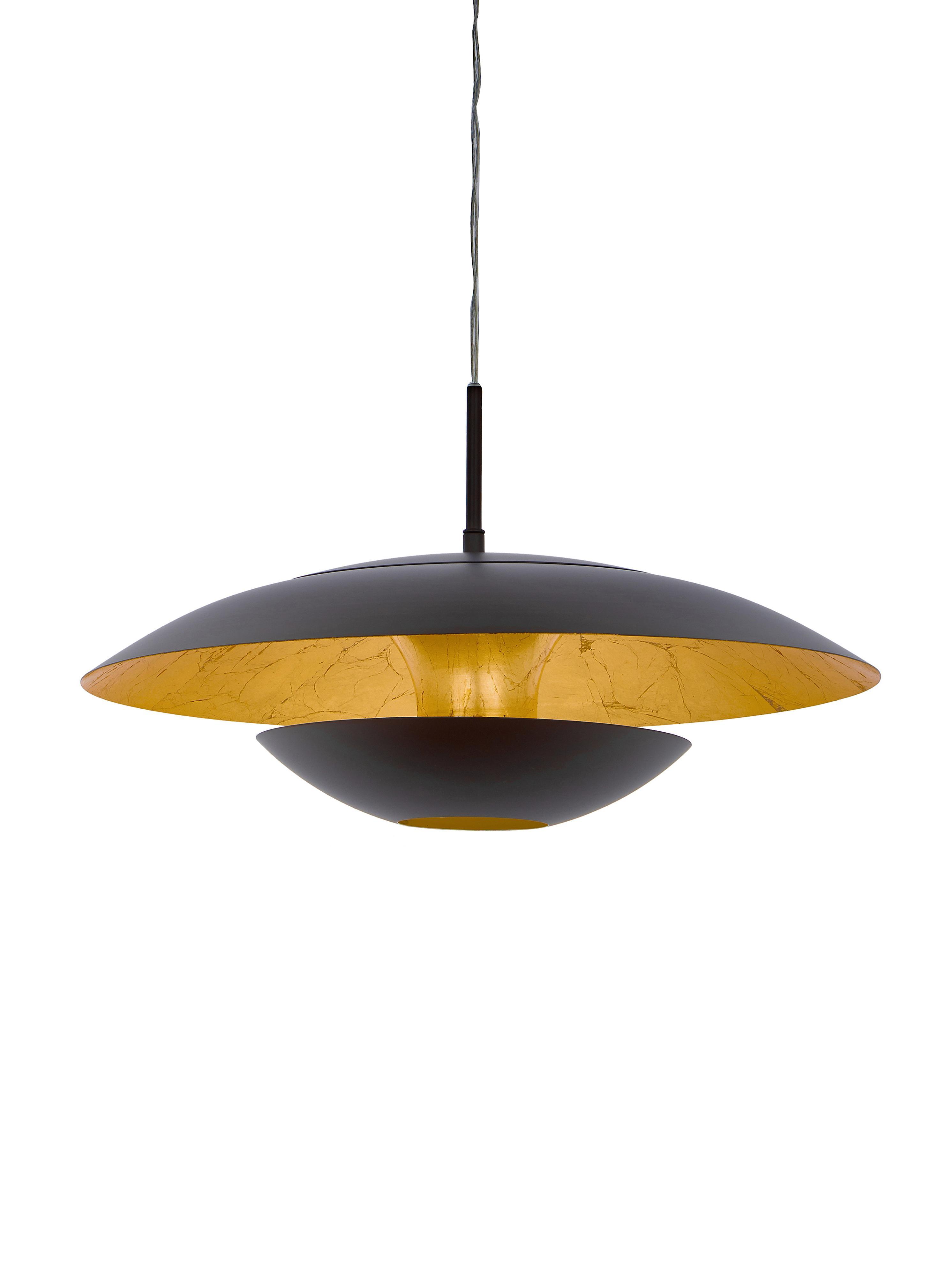 Pendelleuchte Nuvano in Braun, Braun, Goldfarben, Ø 48 x H 18 cm