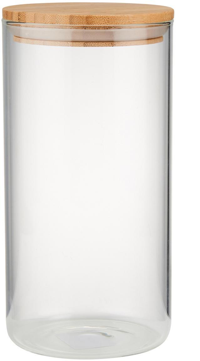Aufbewahrungsdose Woodlock mit Deckel aus Buchenholz, Glas, Buchenholz, Transparent, Buchenholz, Ø 11 x H 28 cm