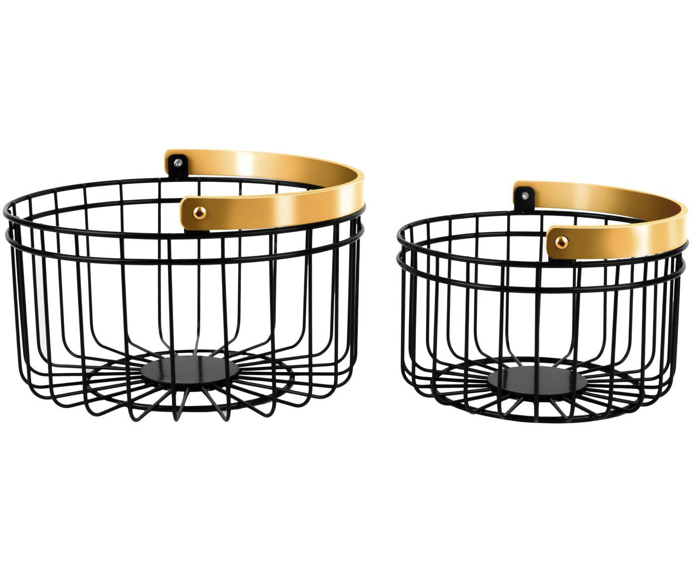 Aufbewahrungskörbe-Set Accents, 2-tlg., Metall, Schwarz, Kupfer, Sondergrößen