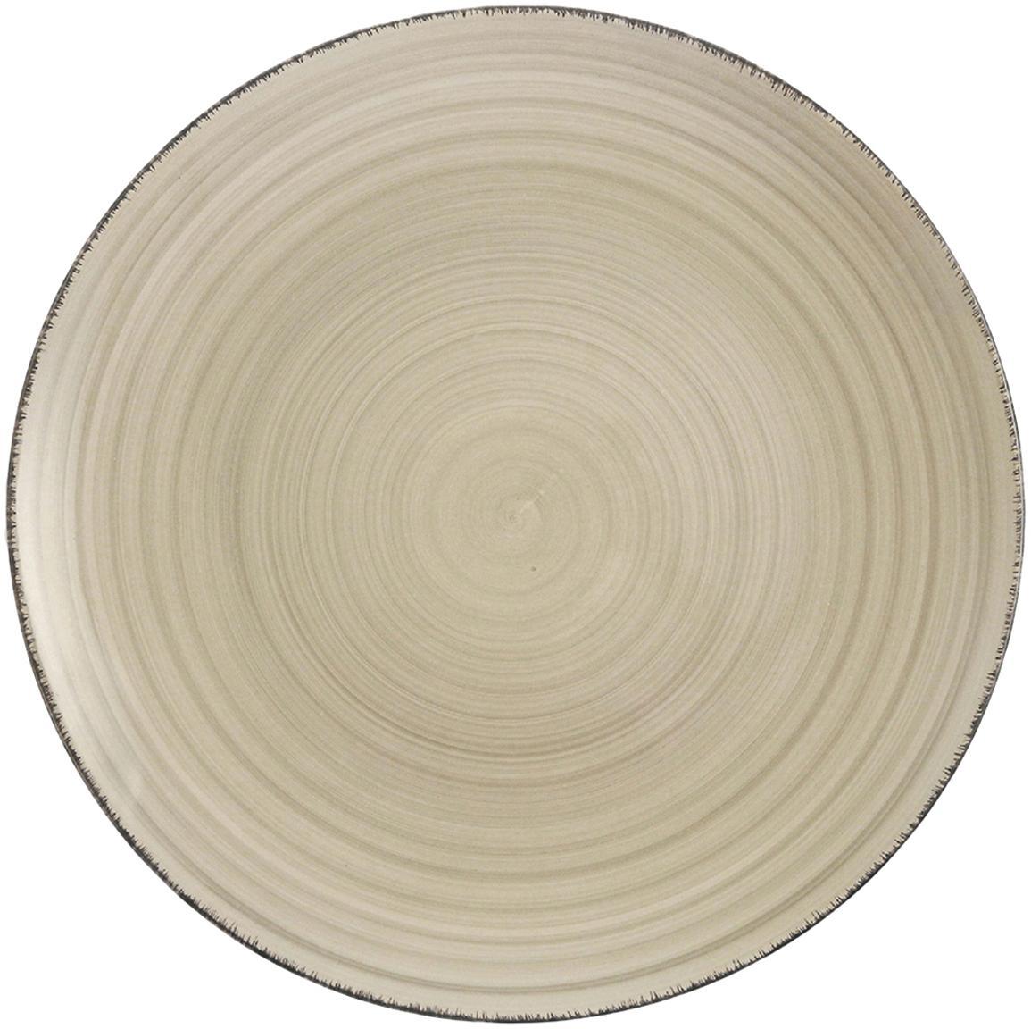 Handbemalte Speiseteller Baita in Greige, 6 Stück, Steingut (Dolomitstein), handbemalt, Greige, Ø 27 cm