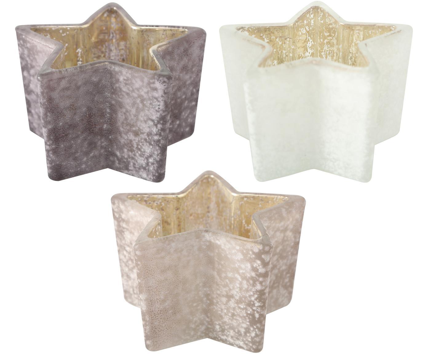 Teelichthalter-Set Stern, 3-tlg., Glas, lackiert, Grau, Ø 10 x 7 cm