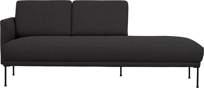 Chaise longue Fluente, Bekleding: 100% polyester, Frame: massief grenenhout, Poten: gepoedercoat metaal, Geweven stof donkergrijs, B 202 x D 85 cm