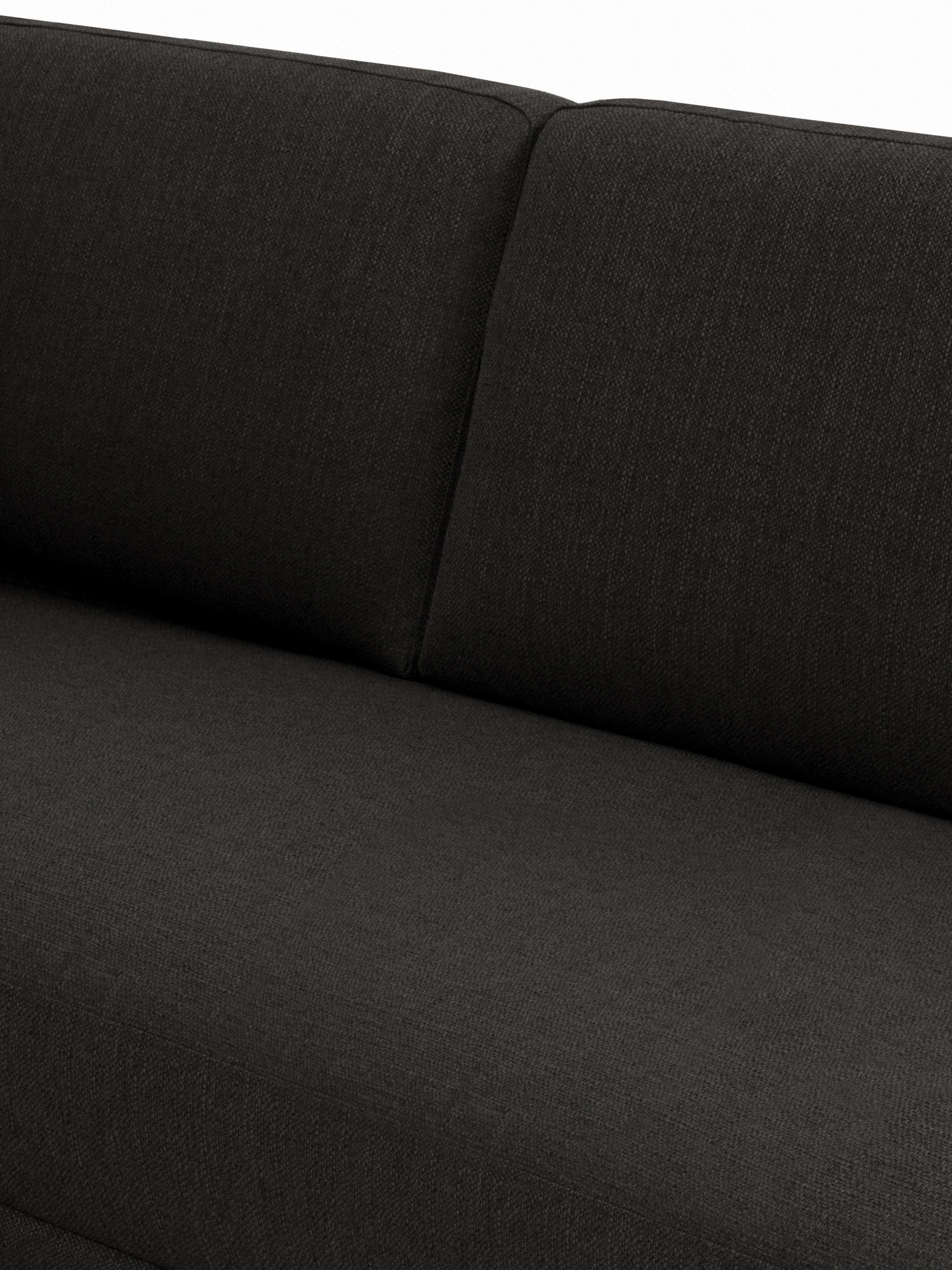 Ottomane Fluente, Bezug: 100% Polyester Der hochwe, Gestell: Massives Kiefernholz, Füße: Metall, pulverbeschichtet, Webstoff Dunkelgrau, B 202 x T 85 cm