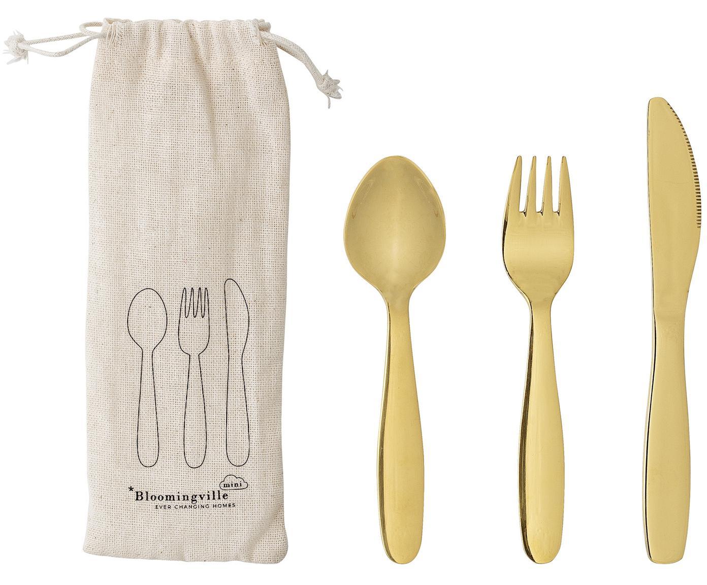 Besteck-Set Kamila, 3-tlg., Besteck: Edelstahl, Beutel: Textil, Goldfarben, 4 x 17 cm