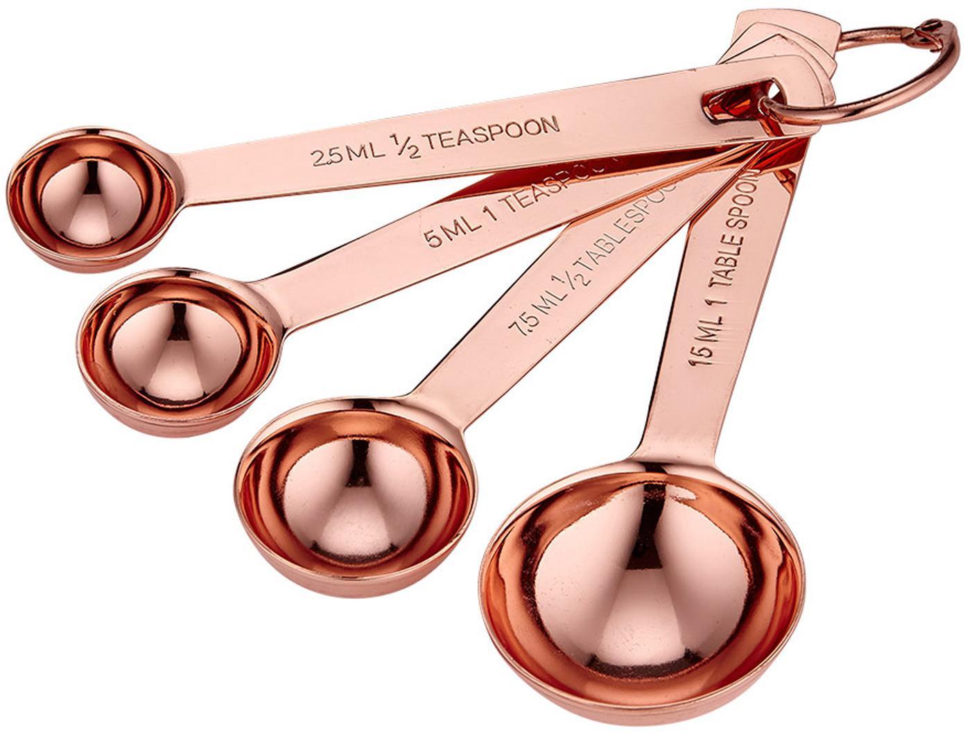 Set de cucharas medidoras Lawson, 4pzas., Acero inoxidable, cobre, Cobre, Set de diferentes tamaños