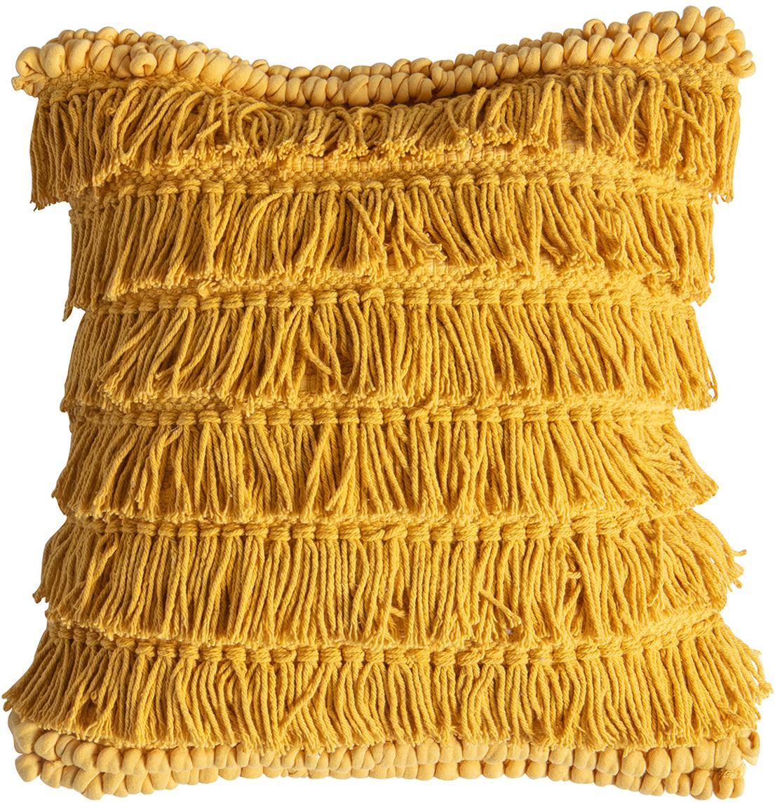 Cuscino con imbottitura Tallara, Rivestimento: 100% cotone riciclato, Giallo ocra, Larg. 45 x Lung. 45 cm