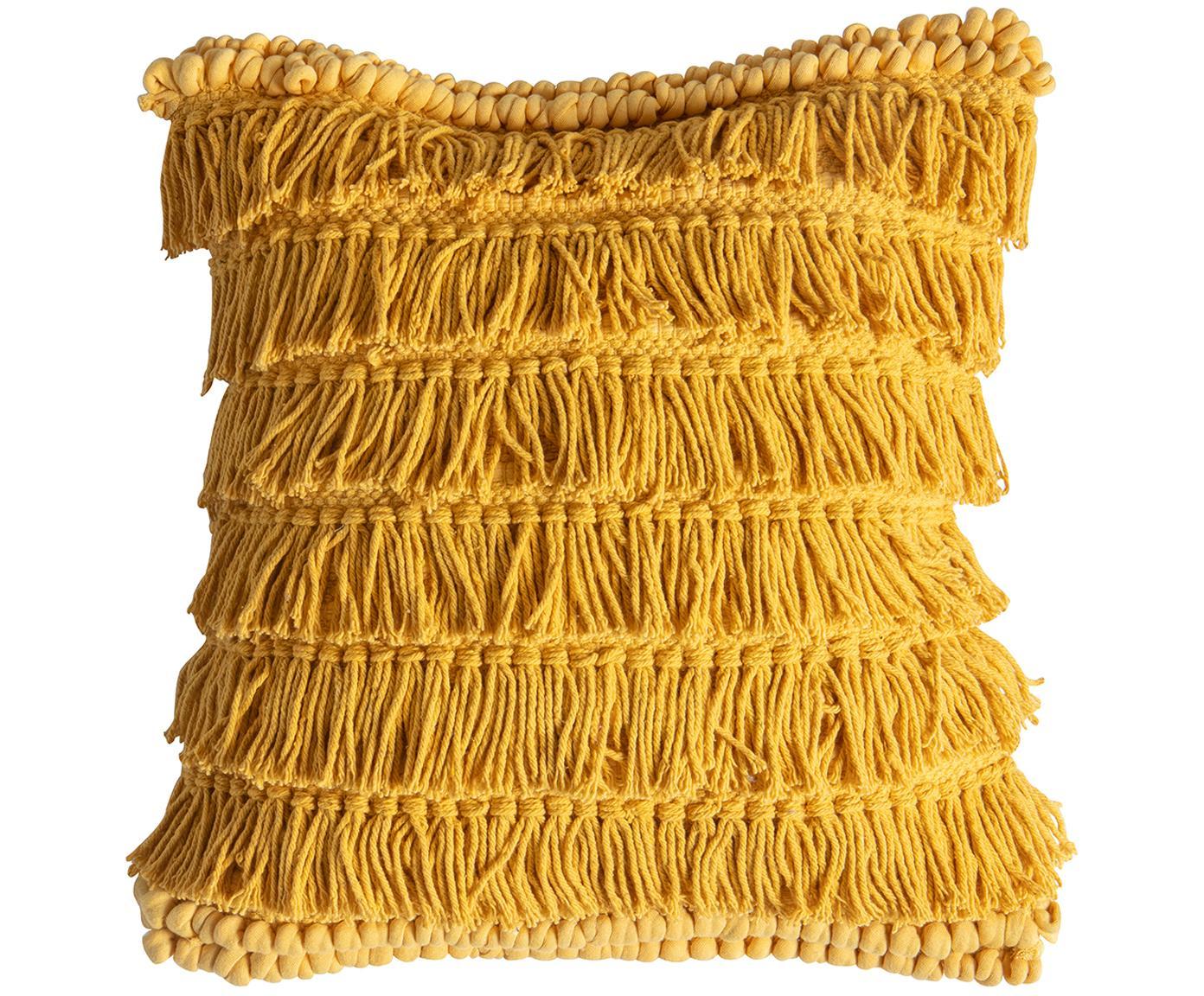 Cojín Tallara, estilo boho, con relleno, Funda: 100%algodón reciclado, Ocre, An 45 x L 45 cm