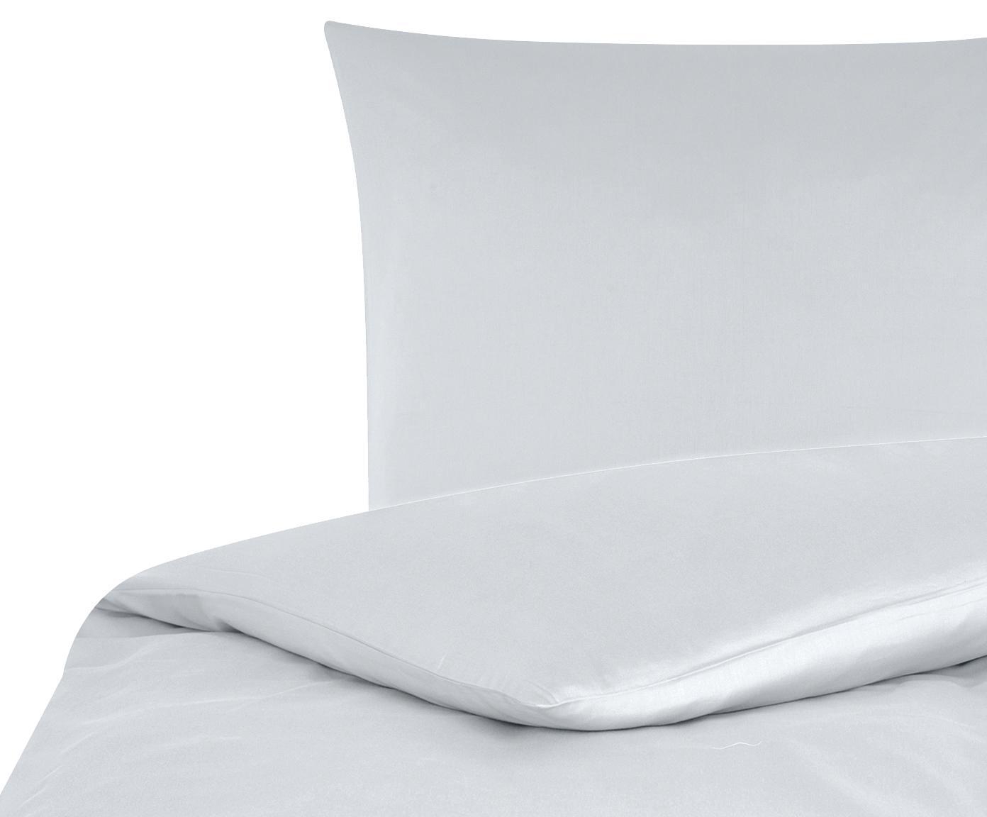 Parure copripiumino in raso di cotone Comfort, Grigio chiaro, 255 x 200 cm