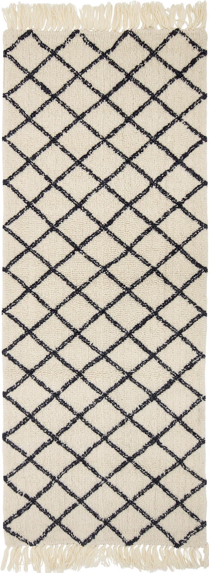 Alfombra de lana Alva, Crema, gris antracita, An 70 x L 200 cm