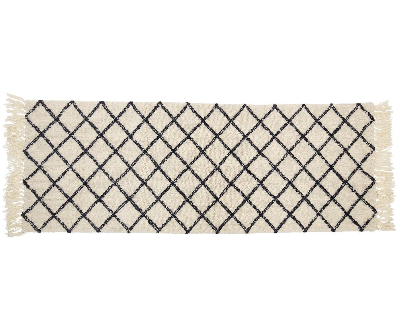 Wollläufer Alva mit Rautenmuster, Creme, Anthrazit, 70 x 200 cm