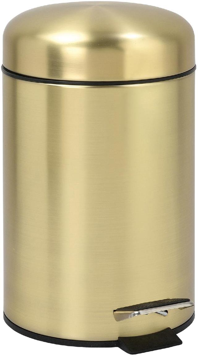 Afvalemmer Matt, Gecoat metaal, Mat champagnekleurig, Ø 17 x H 29 cm