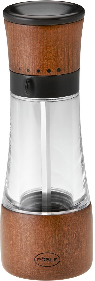 Molinillo de especias Lira, Estructura: abedul, plástico, Grinder: cerámica, Abedul, transparente, negro, Ø 6 x Al 18 cm