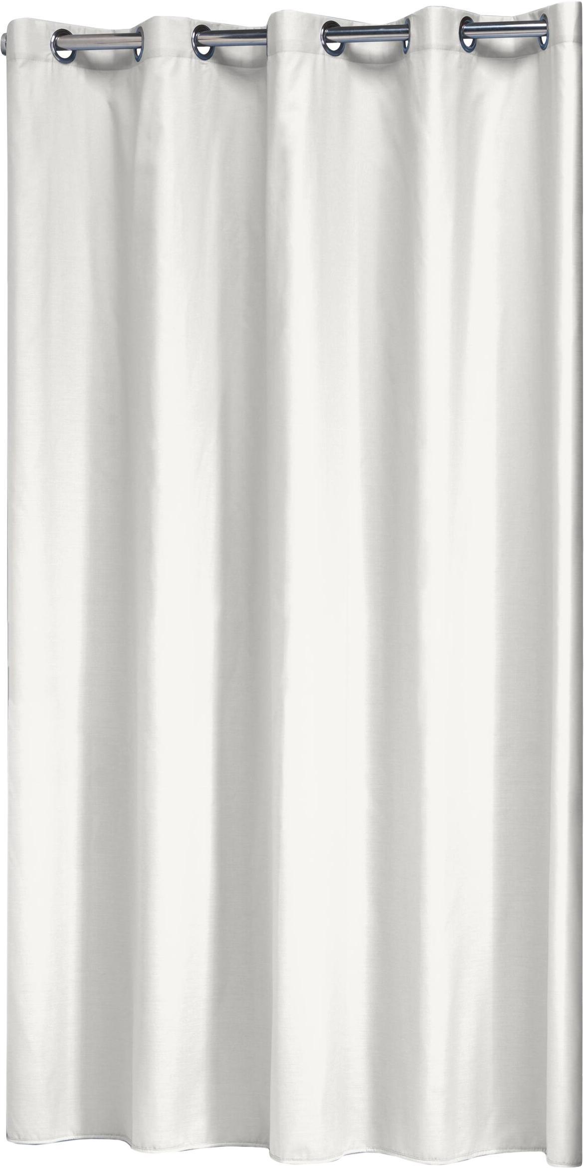Duschvorhang Coloris aus Baumwoll-Mix, Gebrochenes Weiss, 180 x 200 cm