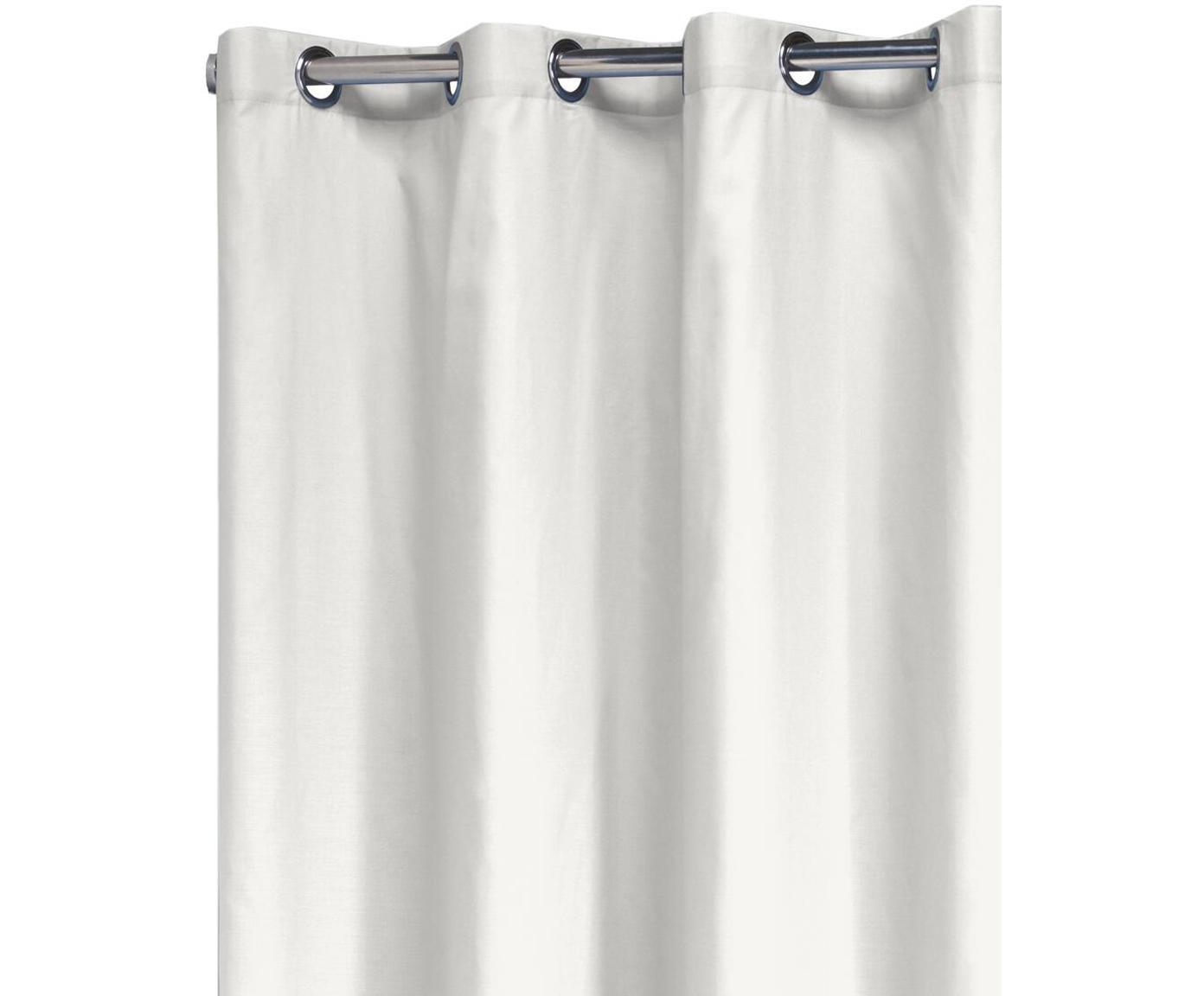 Tenda da doccia in cotone Coloris, Bianco latteo, Larg. 180 x Lung. 200 cm