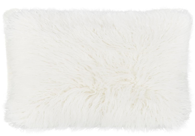 Flauschige Kunstfell-Kissenhülle Morten, gelockt, Vorderseite: 67% Acryl, 33% Polyester, Rückseite: 100% Polyester, Creme, 30 x 50 cm