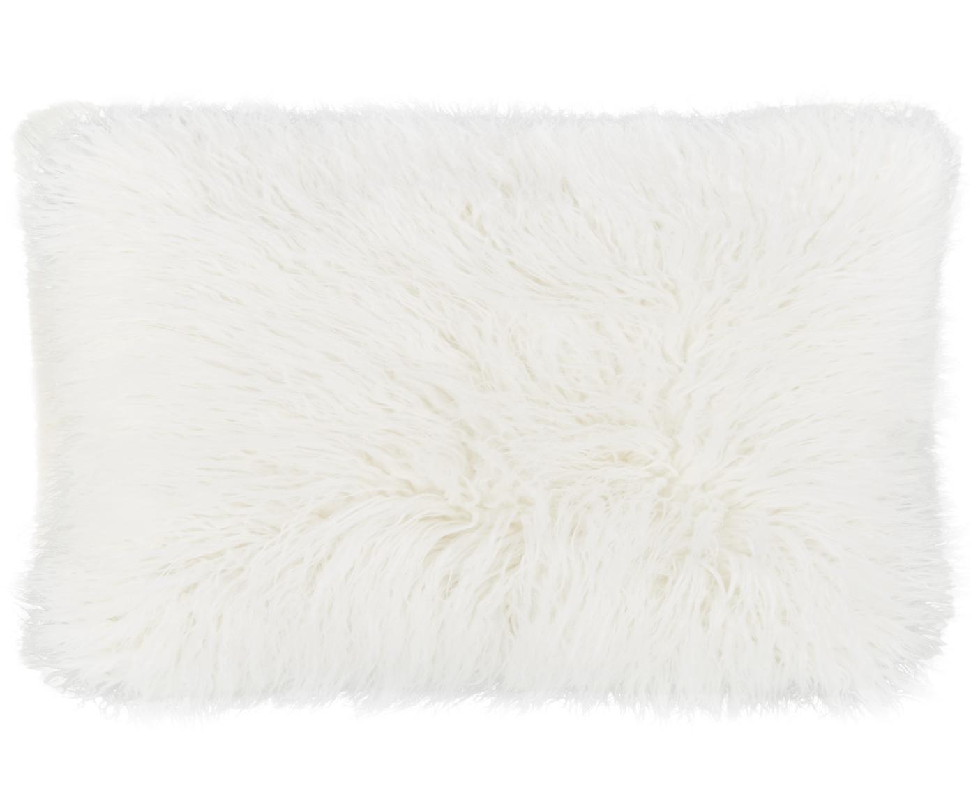 Kussenhoes van imitatievacht Morten, gekruld, Crèmekleurig, 30 x 50 cm