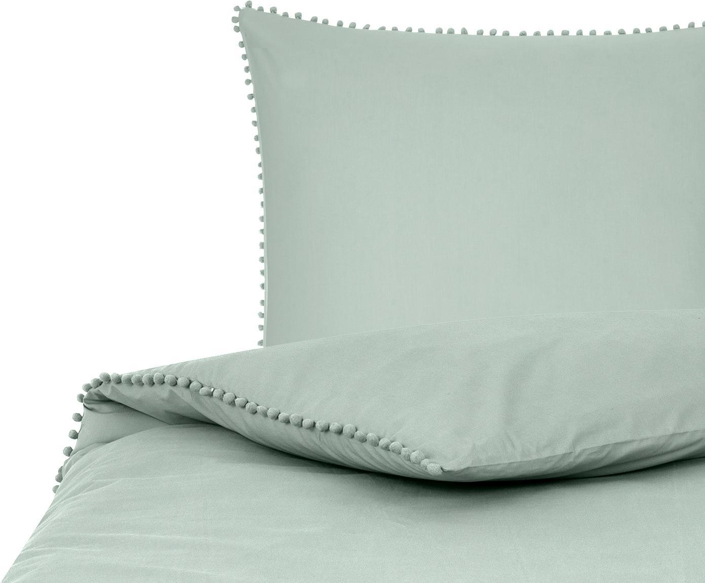 Baumwollperkal-Bettwäsche Bommy mit Pompoms, Webart: Perkal Fadendichte 200 TC, Salbeigrün, 135 x 200 cm + 1 Kissen 80 x 80 cm
