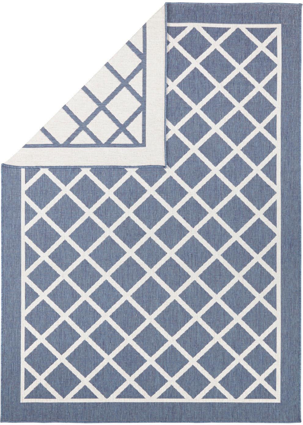 In- und Outdoor-Wendeteppich Sydney mit Rautenmuster in Blau/Creme, Blau, Creme, B 160 x L 230 cm (Größe M)