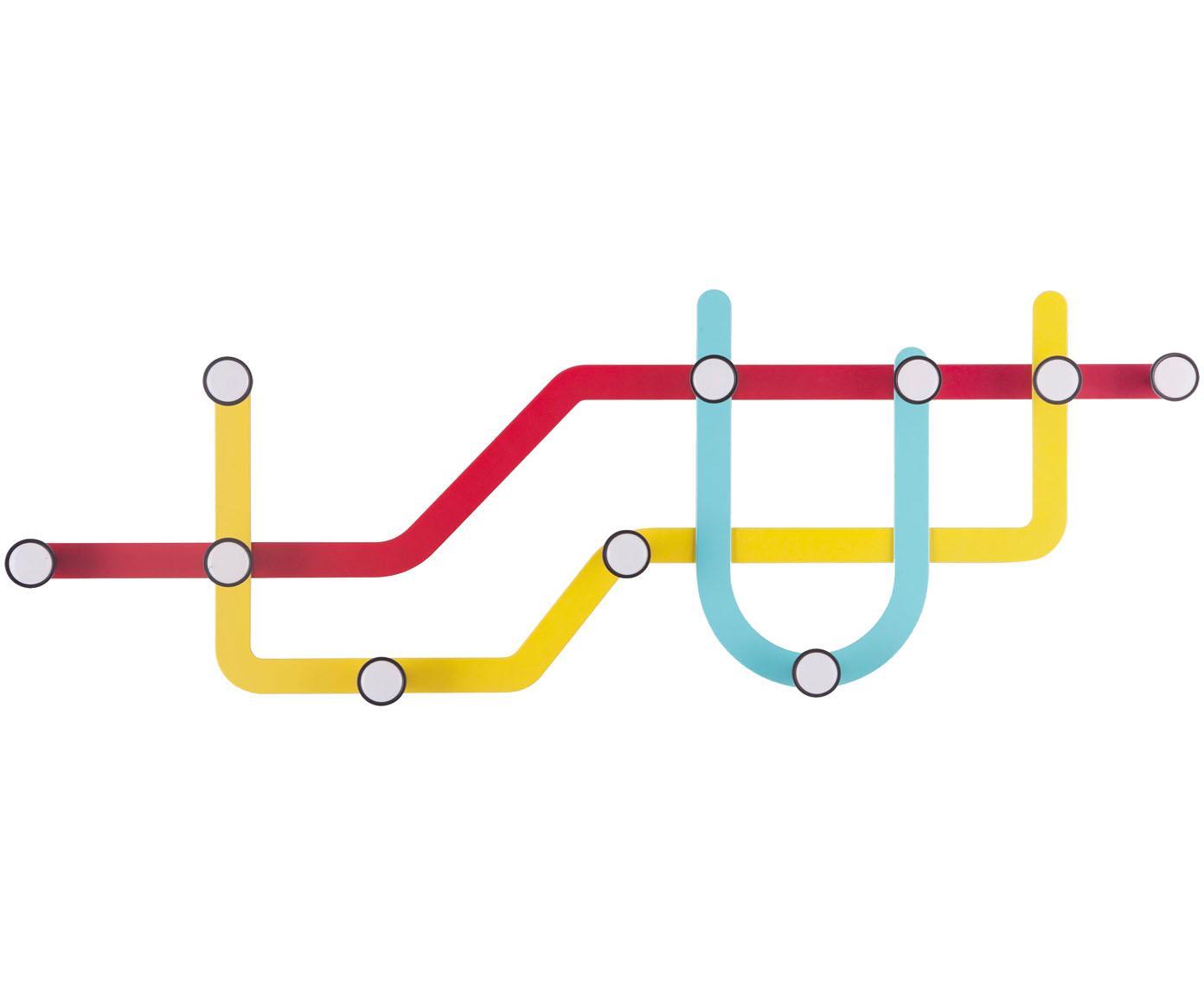 Appendiabiti di design Subway, Rosso, giallo, azzurro, Larg. 58 x Alt. 20 cm