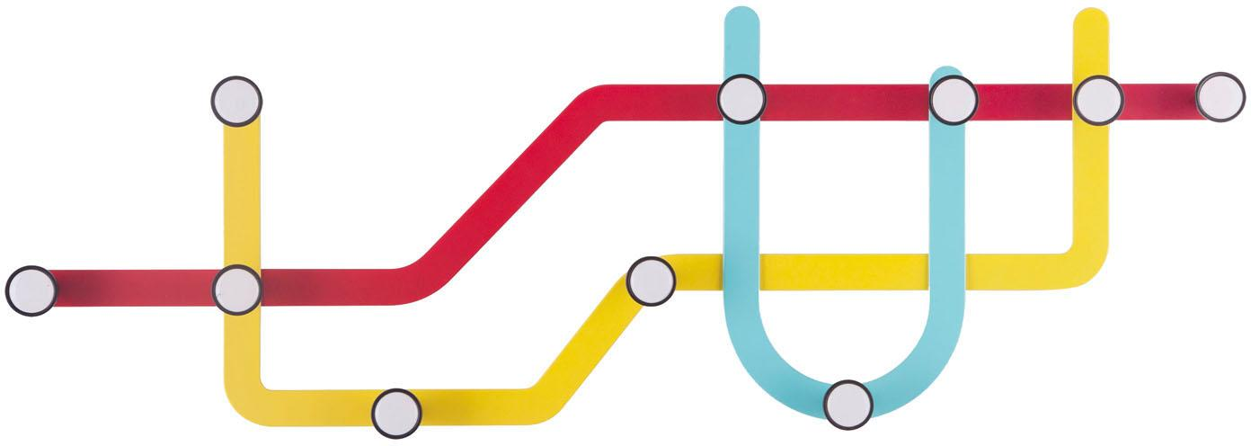 Wandkapstok Subway, Rood, geel, lichtblauw, 58 x 20 cm