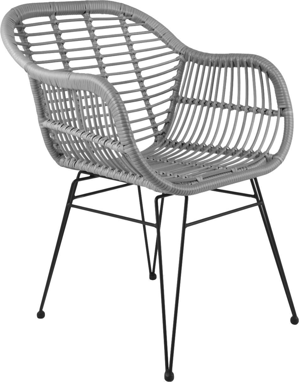 Krzesło z podłokietnikami z polirattanu Costa, 2 szt., Stelaż: metal malowany proszkowo, Szary, nogi: czarny, S 60 x G 58 cm